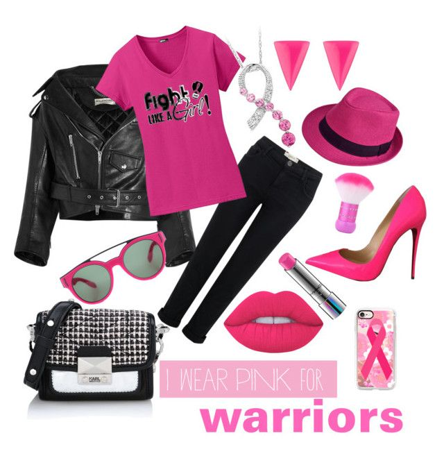 """""""I wear pink for warriors!"""" by srlangley ❤ liked on Polyvore featuring Balenciaga, Current/Elliott, Christian Louboutin, MAC Cosmetics, Casetify, Karl Lagerfeld, Givenchy, Alexis Bittar and Lime Crime"""