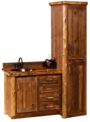 Photographic Gallery Custom Rustic Sawmill Camp Wood Log Cabin Lodge Pine Bathroom Vanity INCH