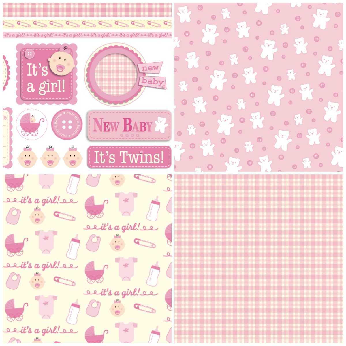 Free Card Making Printables Part - 42: Make A Card For A Baby Girl With These Free Digital Papers From Papercraft  Inspirations Magazine