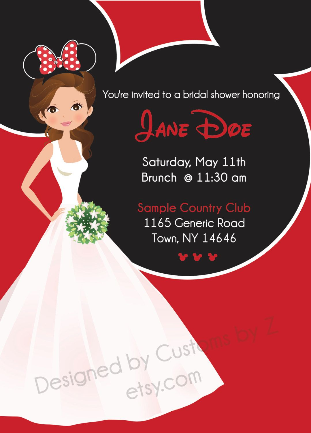Minnie Mouse Theme Bridal Shower Invitation Front And Back