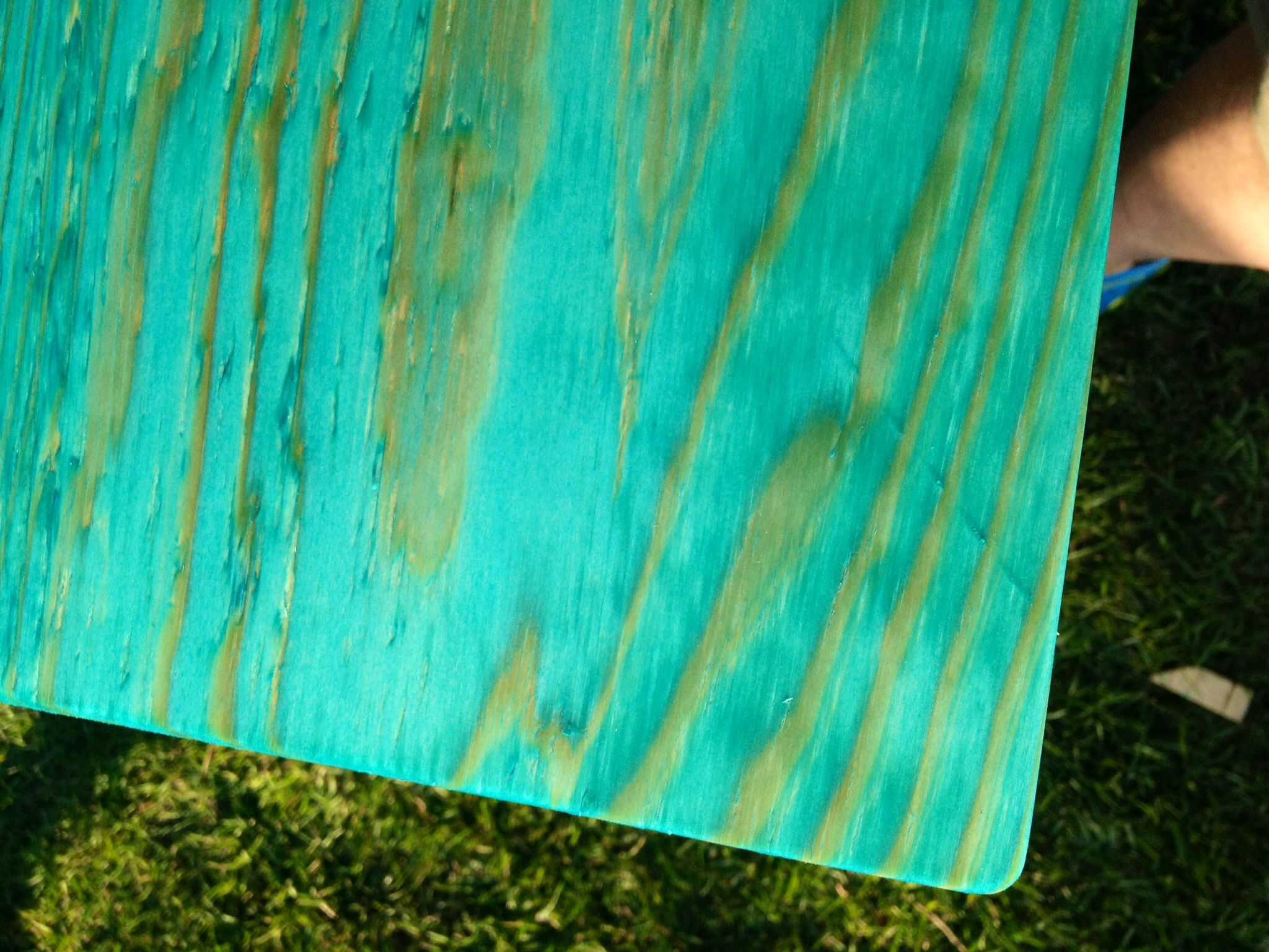 Aquamarine Rit Dye used to stain wood for new outdoor stove