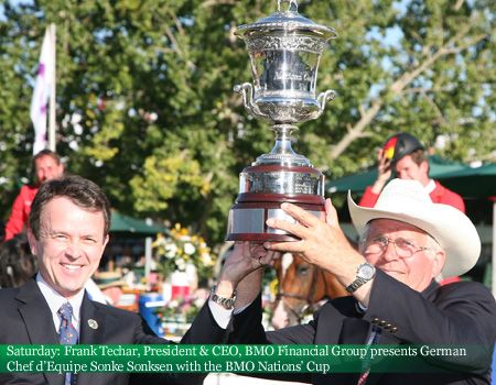 Saturday: Frank Techar, President and CEO, BMO Financial Group presents German Chef d'Equipe Sonke Sonksen with the BMO Nations' Cup #2012Masters