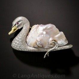 Baroque Pearl and Diamond Swan Brooch