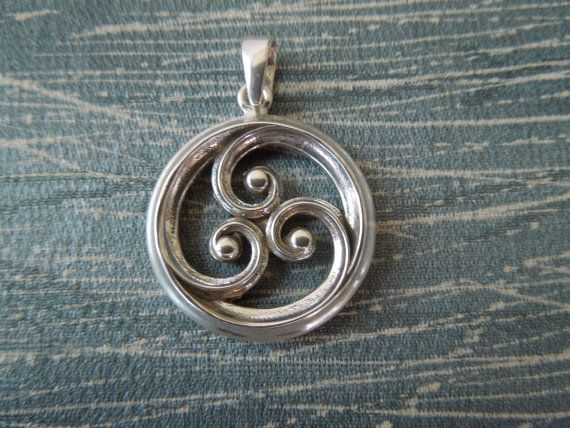 Sterling Silver Unisex pendant ONLY - double sided 3 Coil Motif with bail, NO CHAIN.