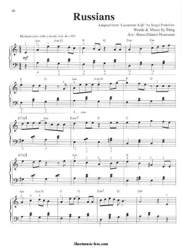 Russians Sheet Music Sting Piano Musique Musicien Chanteur