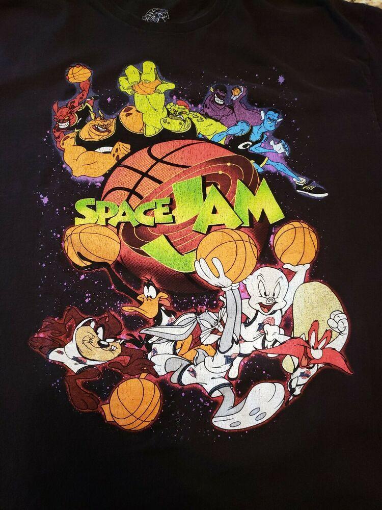 Space Jam Vintage T Shirt Mens Xl Graphic Tee Black Toon Squad Monstars Jordan Ebay Space Jam Toon Squad Vintage Space