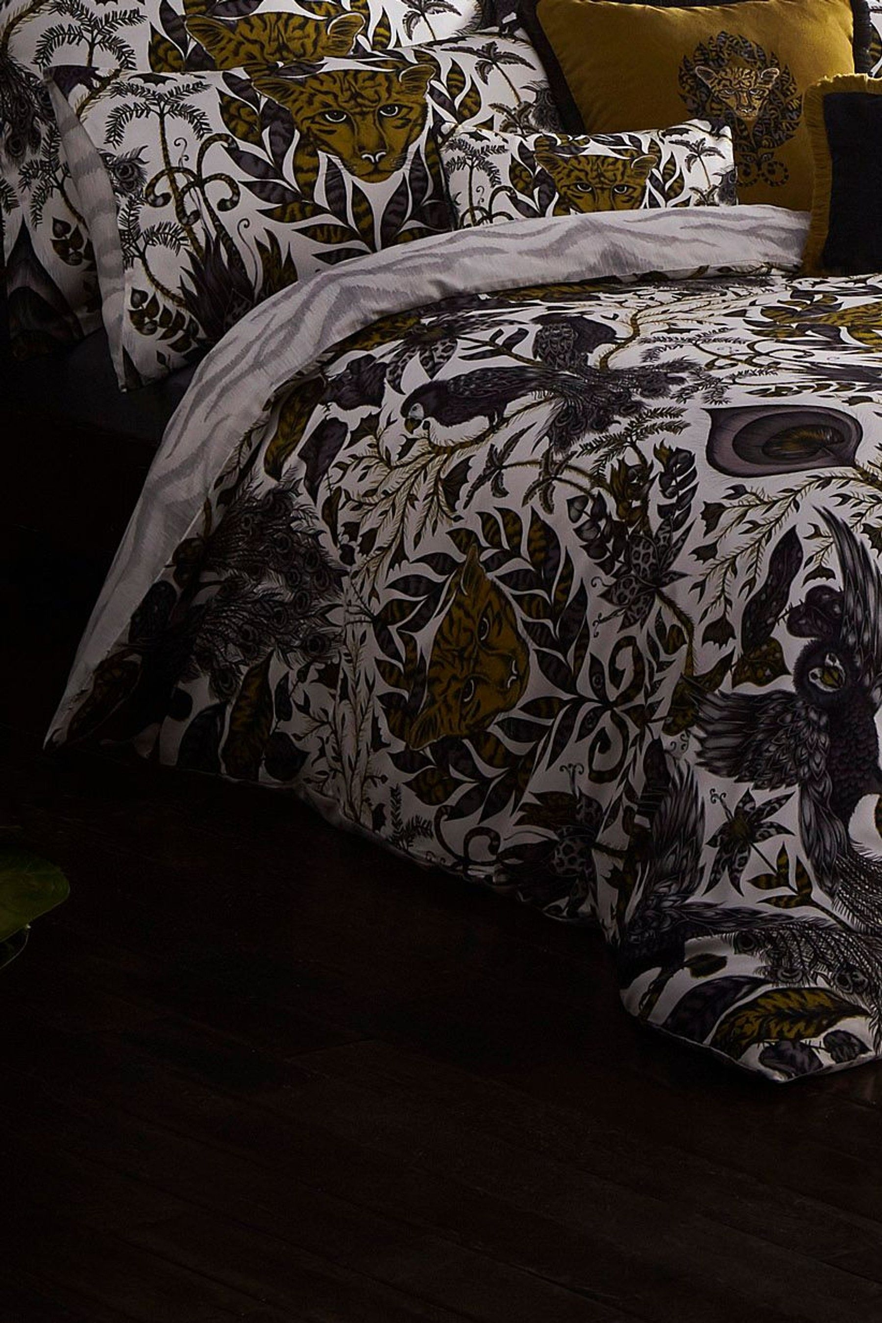 Emma Shipley Amazon Animal Cotton Duvet Cover Grey Bed Linen