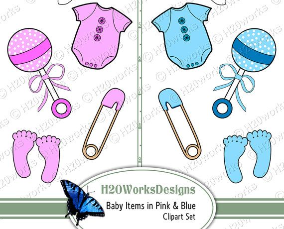 62654fdc64c4 Baby Items Clipart Set on 8.5x11 Sheet Pink by H20worksDesigns ...