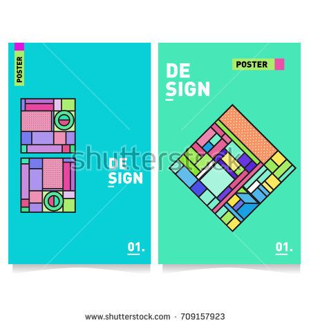 vector covers design set with retro style. cool geometric memphis, Presentation templates
