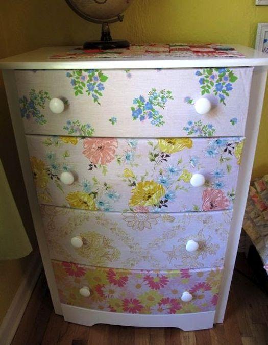 Dresser Repurposed With Vintage Sheets Mod Podge Rocks