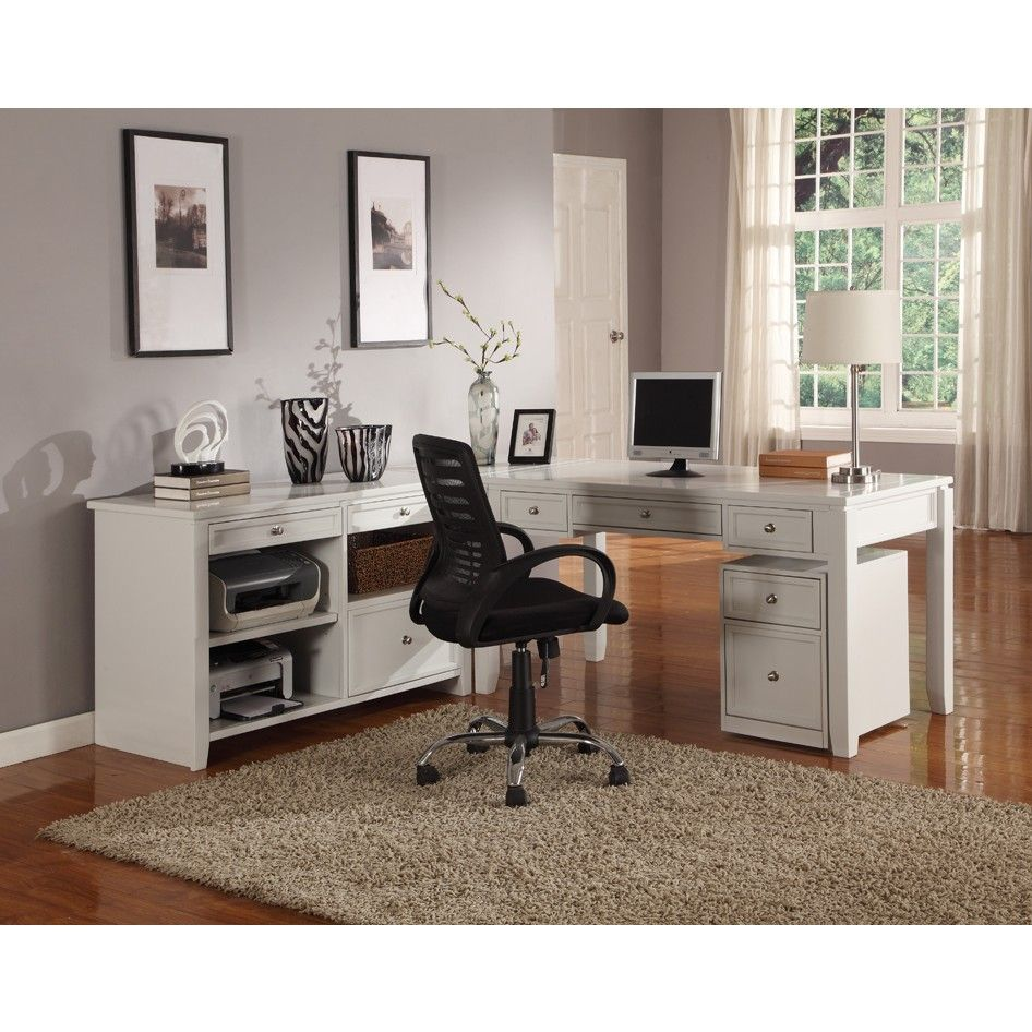 Parker House Boca 3pc L-Shaped Desk & Credenza in Cottage White Finish