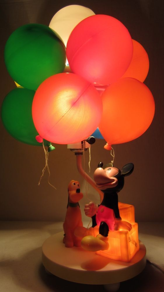 Vintage Walt Disney Mickey Mouse Pluto Lamp Balloon Night