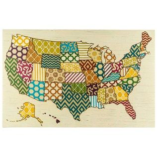 Journey Across The Fifty States With Your Eyes MultiPattern USA - Us map canvas