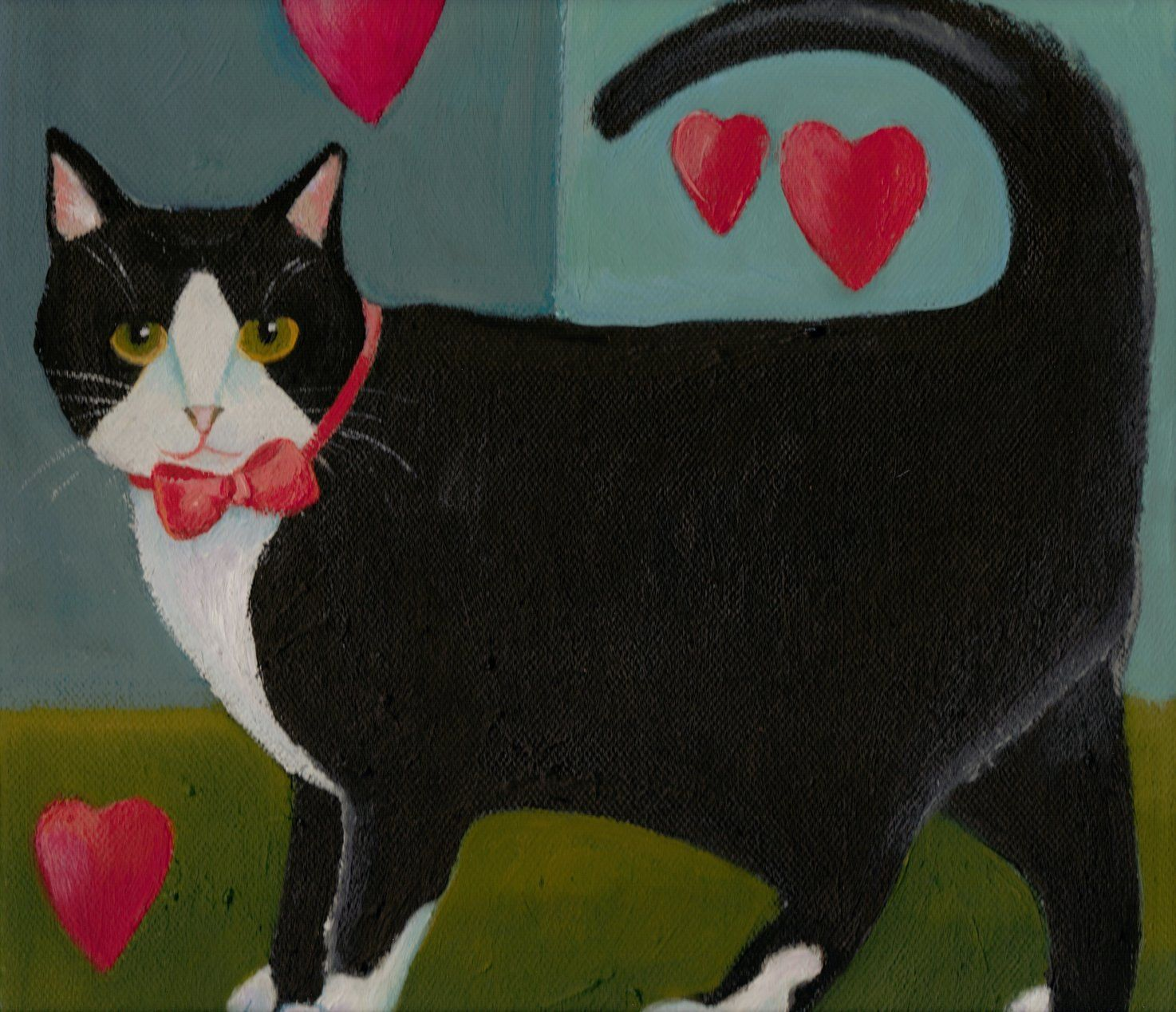Black and White Cat with Hearts, by Arabella, Plum and Bear, Etsy