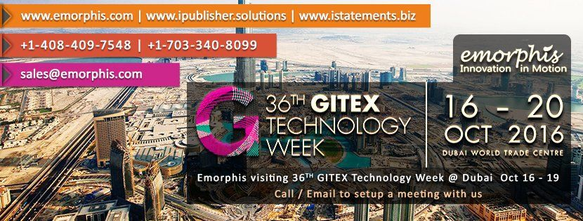 #cloudcomputing Emorphis Visiting 36th #GITEX Technology Week at #Dubai 16 to 19 Oct 2016. Call/Email to Setup A M http://pic.twitter.com/mPYfoOlyLX   Cloud Computing 4U (@Cl0udComputing) September 23 2016