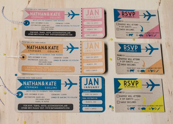 Wonderful Plane Ticket Wedding Invitations // Destination Wedding Invitations. Yes  Dear Studio To Airplane Ticket Invitations