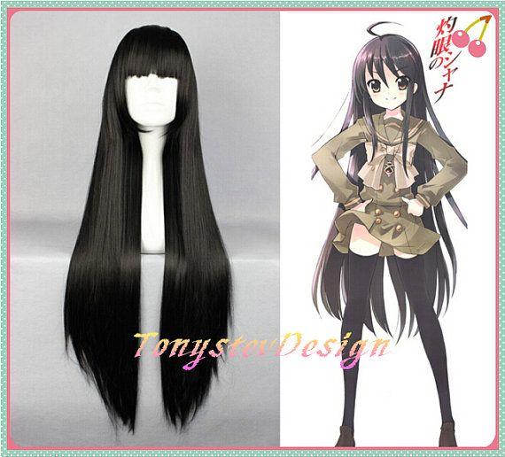 Lungo Nero Parrucca Diritta Lunga Parrucca Party Cosplay Parrucca Shakugan No Shana Costume Parrucca Anime Parrucca Nera Calor Long Black Wig Wigs Straight Wig