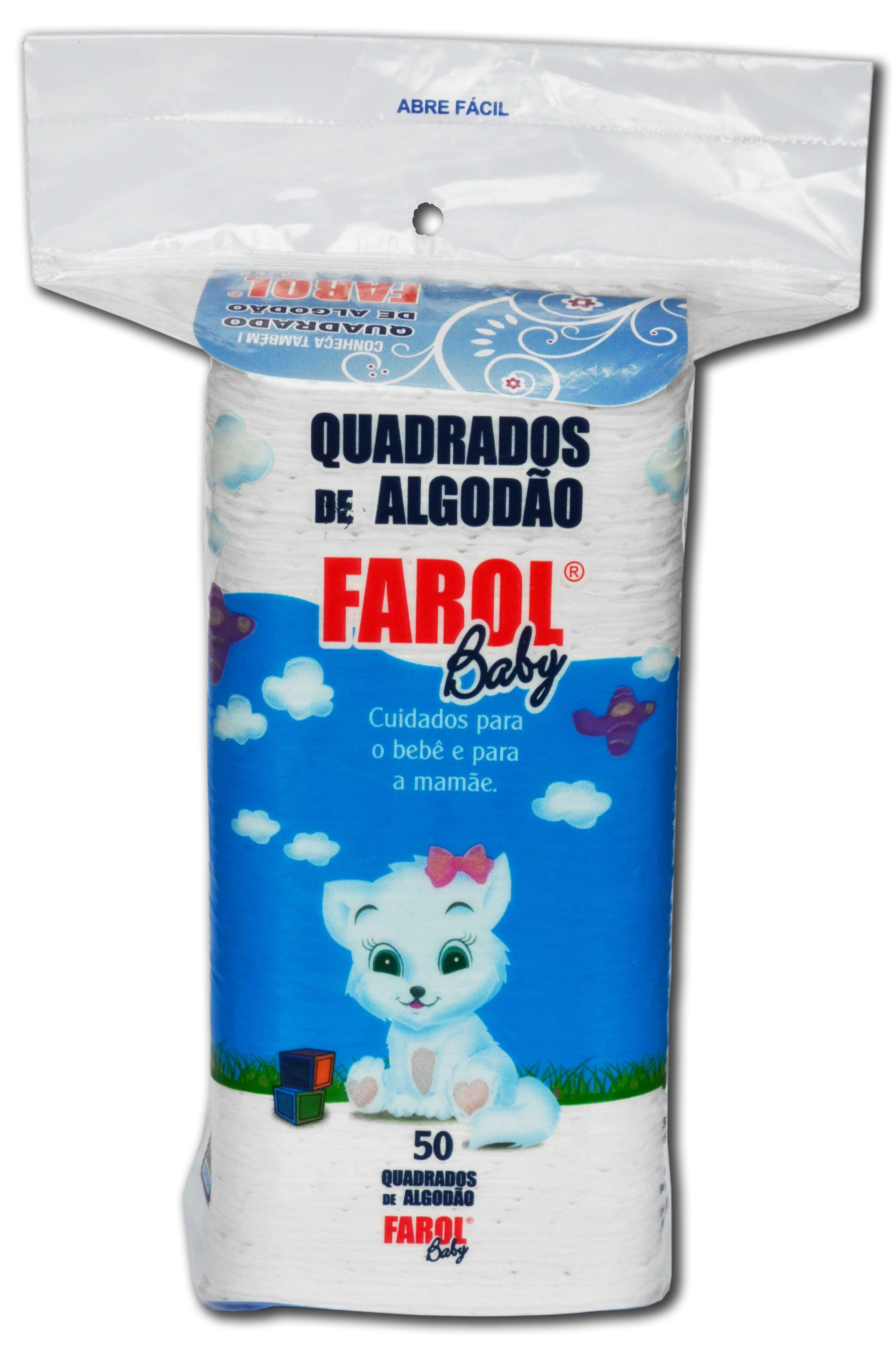 Quadrado de Algodão Hidrófilo FAROL Baby 50 unid.
