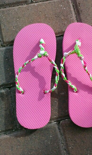 ebcf2c1f6b5a My DIY flip flops. I got  .98 sandals from walmart and used ribbon ...