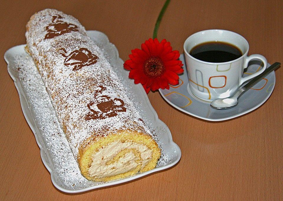 Biskuitrolle mit Kaffeecreme #löffelbiskuitrezept