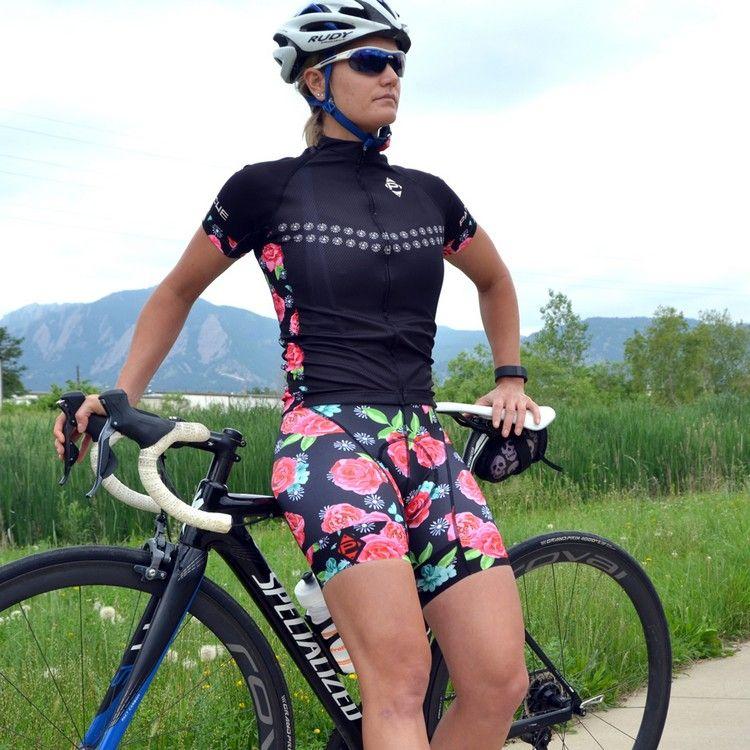Fahrradbekleidung Damen Radhose Fahrradweste Blumenmotiv Sport