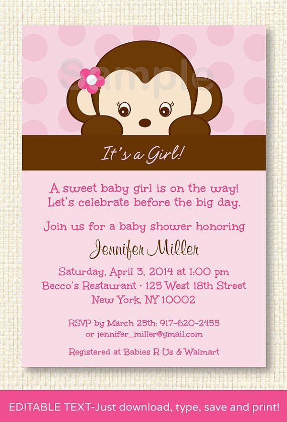 Girl monkey baby shower invitation monkey baby shower pink girl monkey baby shower invitation editable by littleprintsparties 1000 filmwisefo
