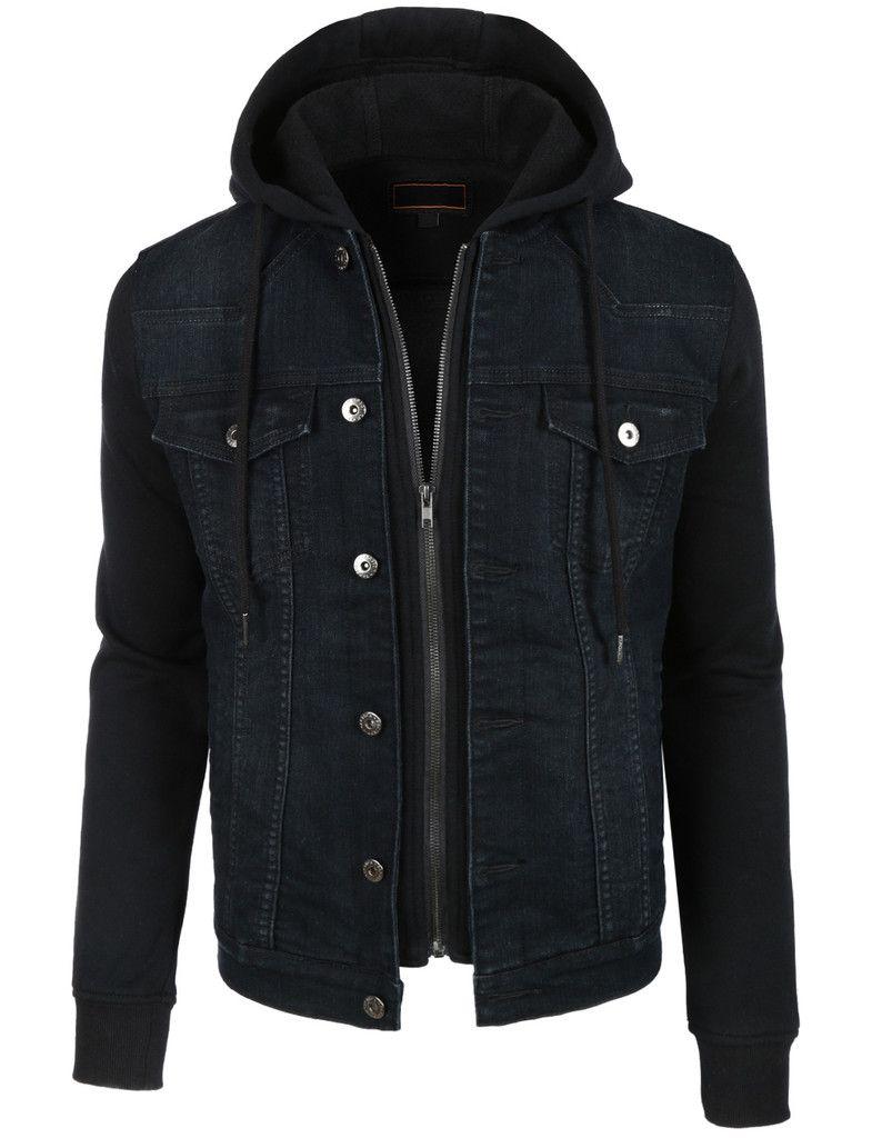 5f1219f533b LE3NO Mens Vintage Long Sleeve Denim Jean Jacket with Fleece Hoodie ...