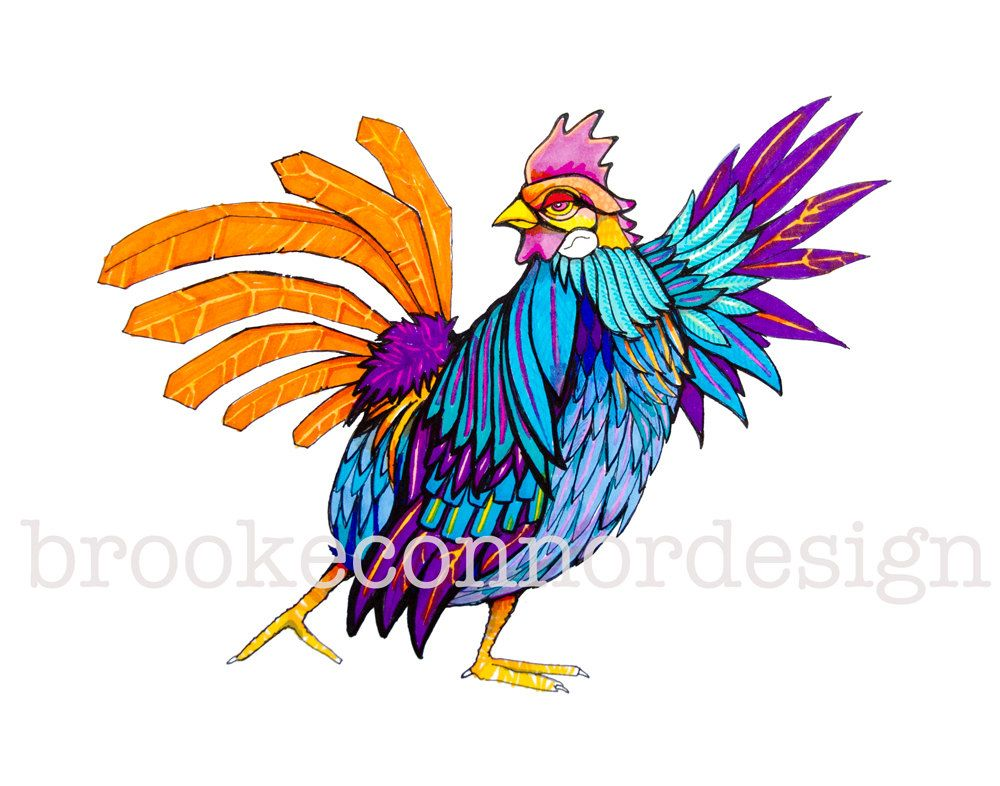 Disco Chicken  Stayin Alive Print of by BrookeConnorDesign on Etsy, $20.00