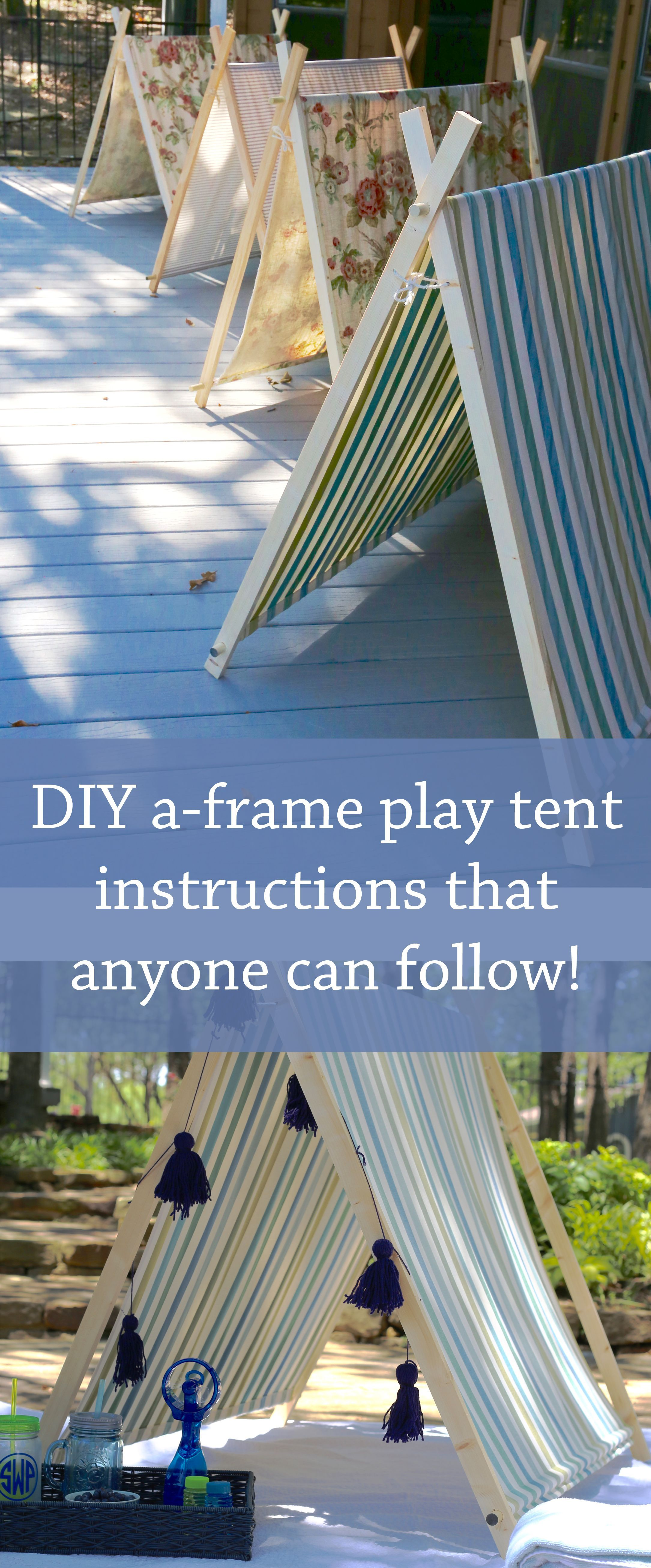 DIY aframe play tent instructions from
