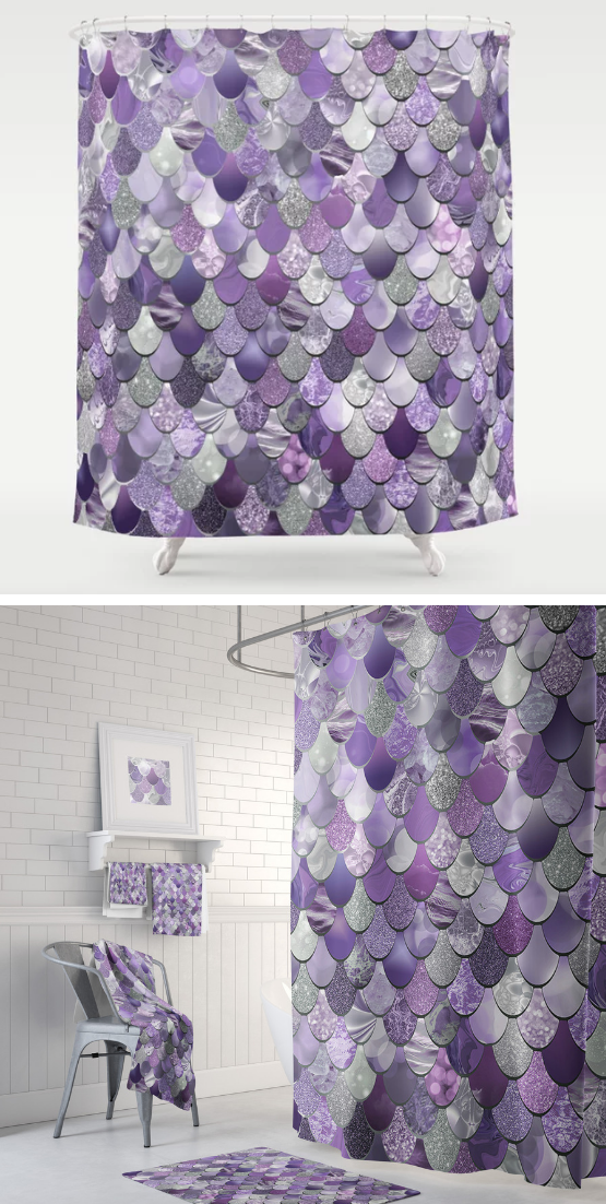 Purple Mermaid Shower Curtain With Matching Towels And Bath Mats
