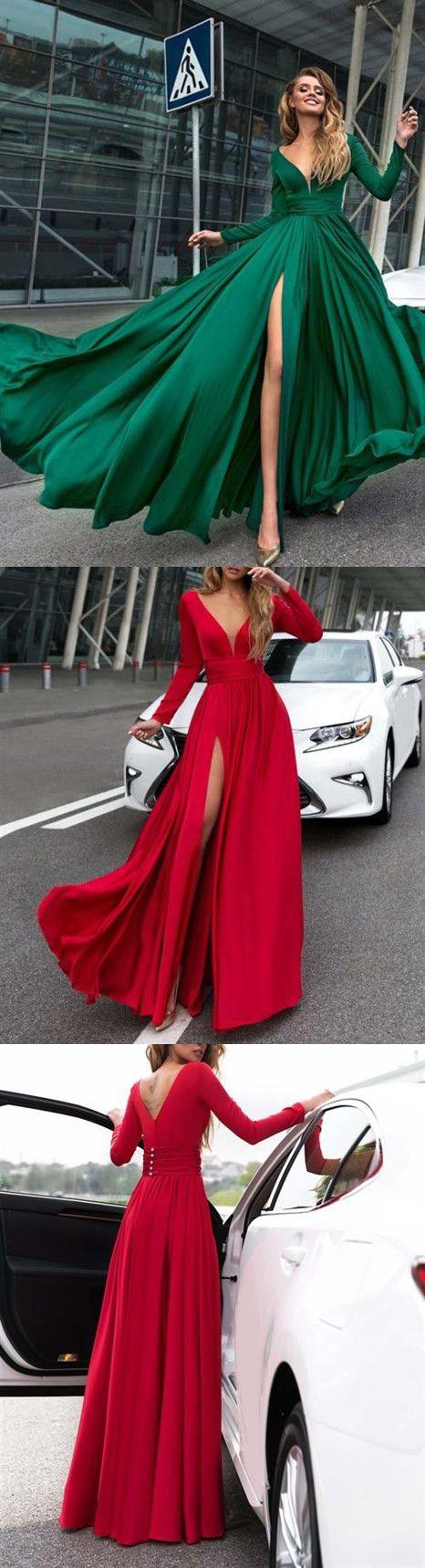 Aline vneck floorlength long sleeve chiffon prom dressevening