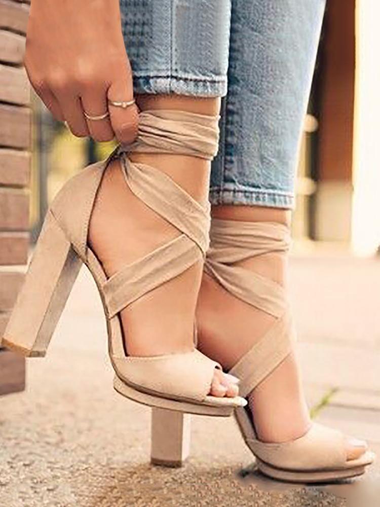 b0a3d32b11c Fashion Crisscross Bandage Peep Toe High Heels Sandals