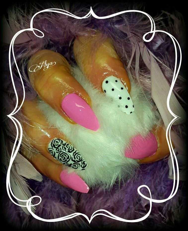 Hot pink ballerina style gel nail with black and white polka dots ...