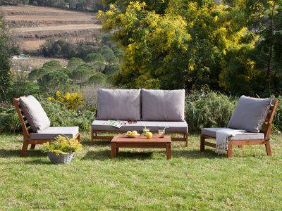 Salon de jardin 4 places Acacia canapé 2 places + 2 fauteuils bas + ...