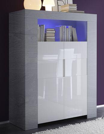 6c7fb3a01622c Buffet haut couleur bois gris portes blanc laqué ESMERALDA 2 ...