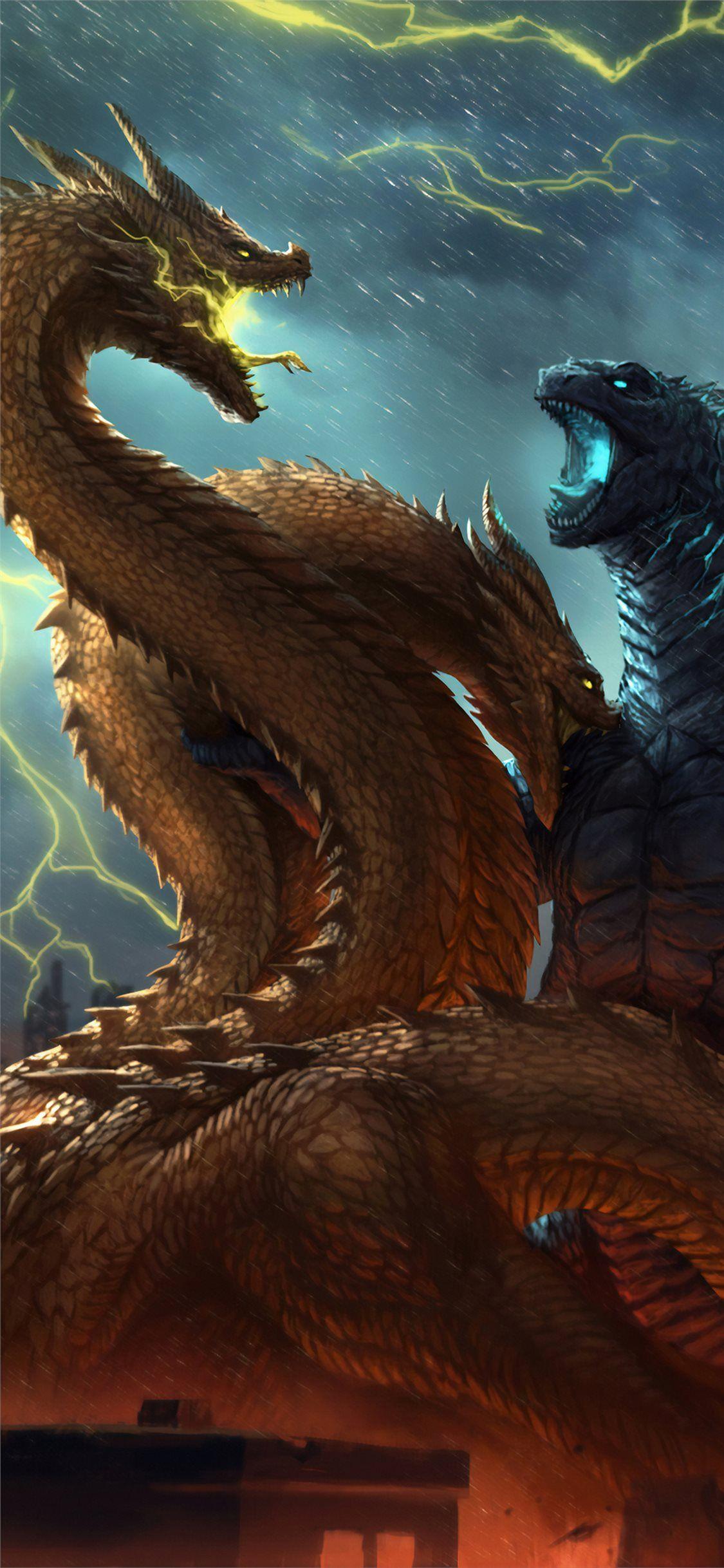 Godzilla King Of The Monsters Fanposter 4k Wallpaper In 2020 Godzilla Wallpaper Godzilla Beautiful Backgrounds