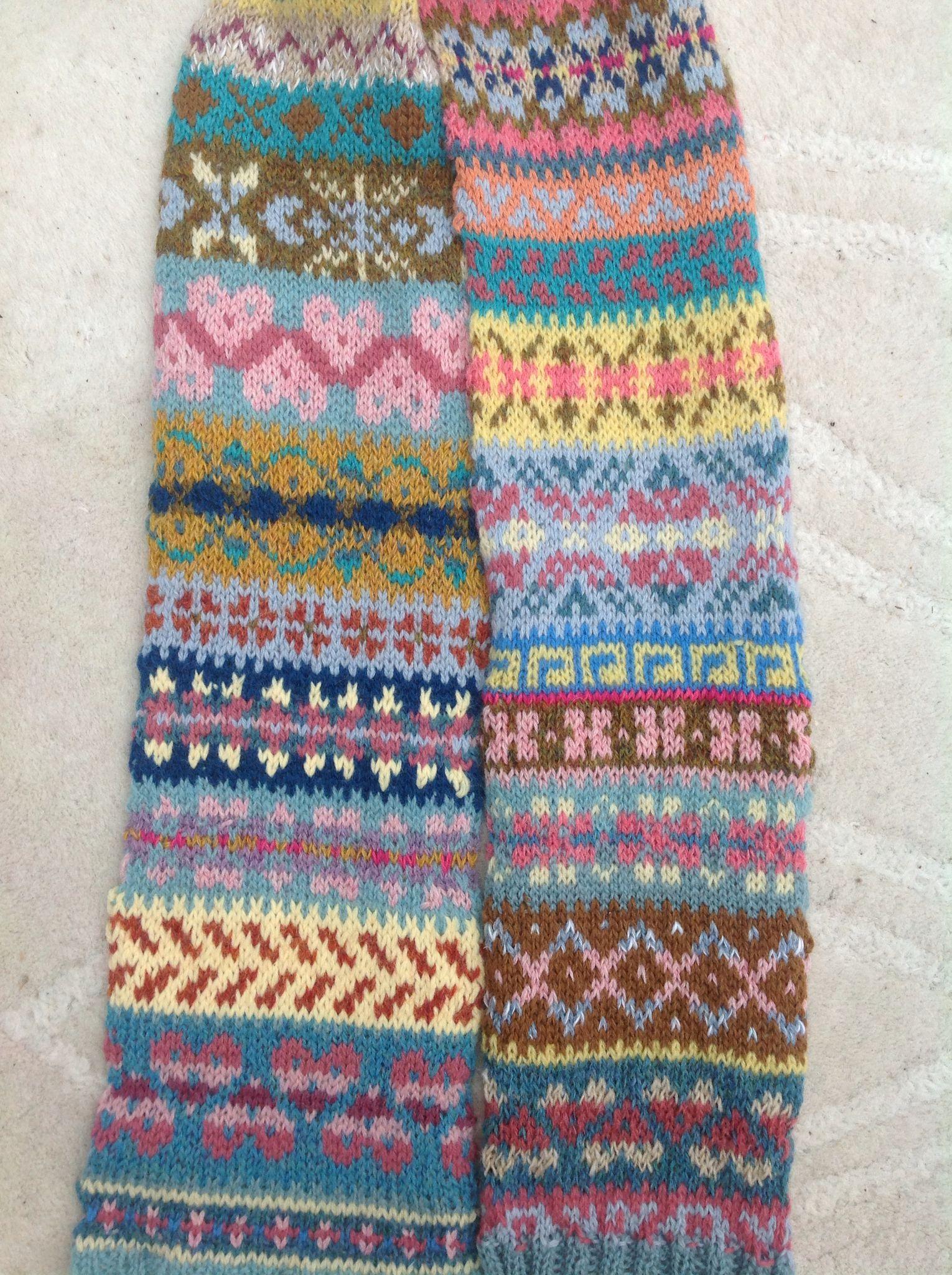 Random fairisle patterns, scrap yarns for original scarf.Debbie ...