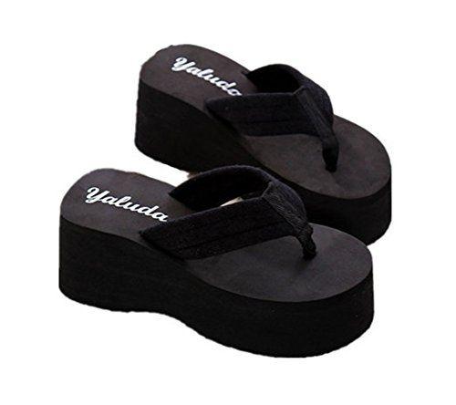 9743eae55e1 Always Pretty Womens Cheap Flip Flops Wedge Sandals Platform Thongs Black  US 8