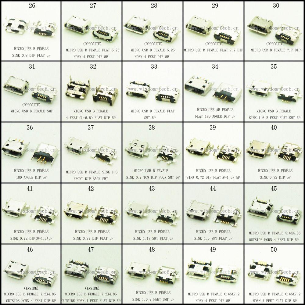 Freies verschiffen neue 250 teile/los 25 modelle micro usb stecker 2 ...