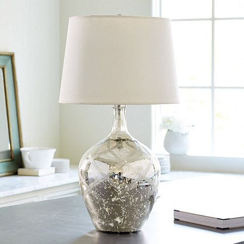 Etched Mercury Glass Table Lamp