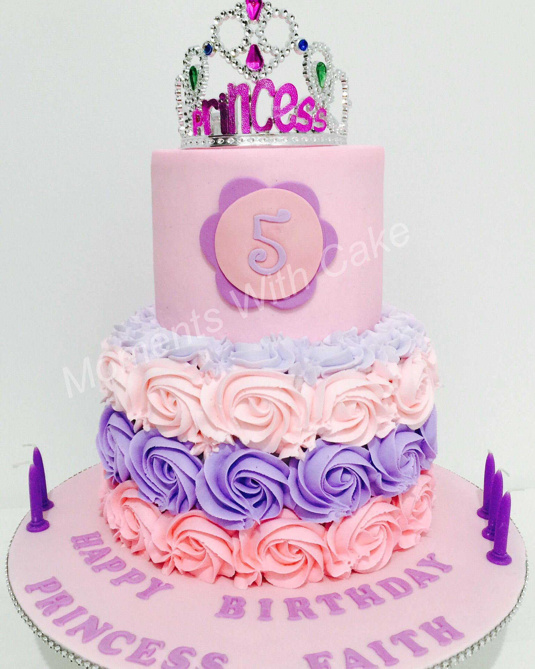 Princess Buttercream Birthday Cake With Pipped Rosettes On The