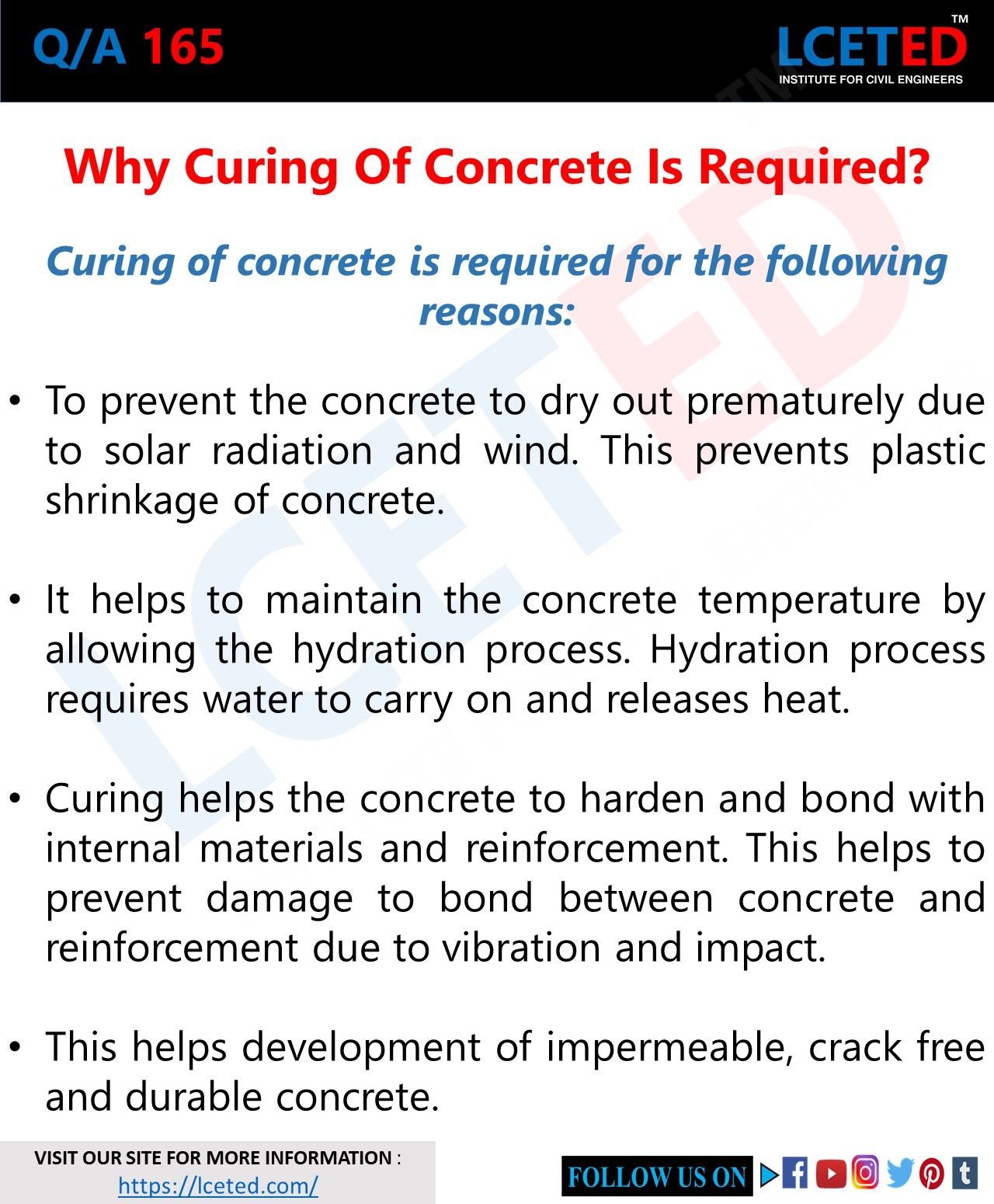 Q A 165 Why Curing Of Concrete Is Required In 2020 Civil Engineering Engineering Civilization