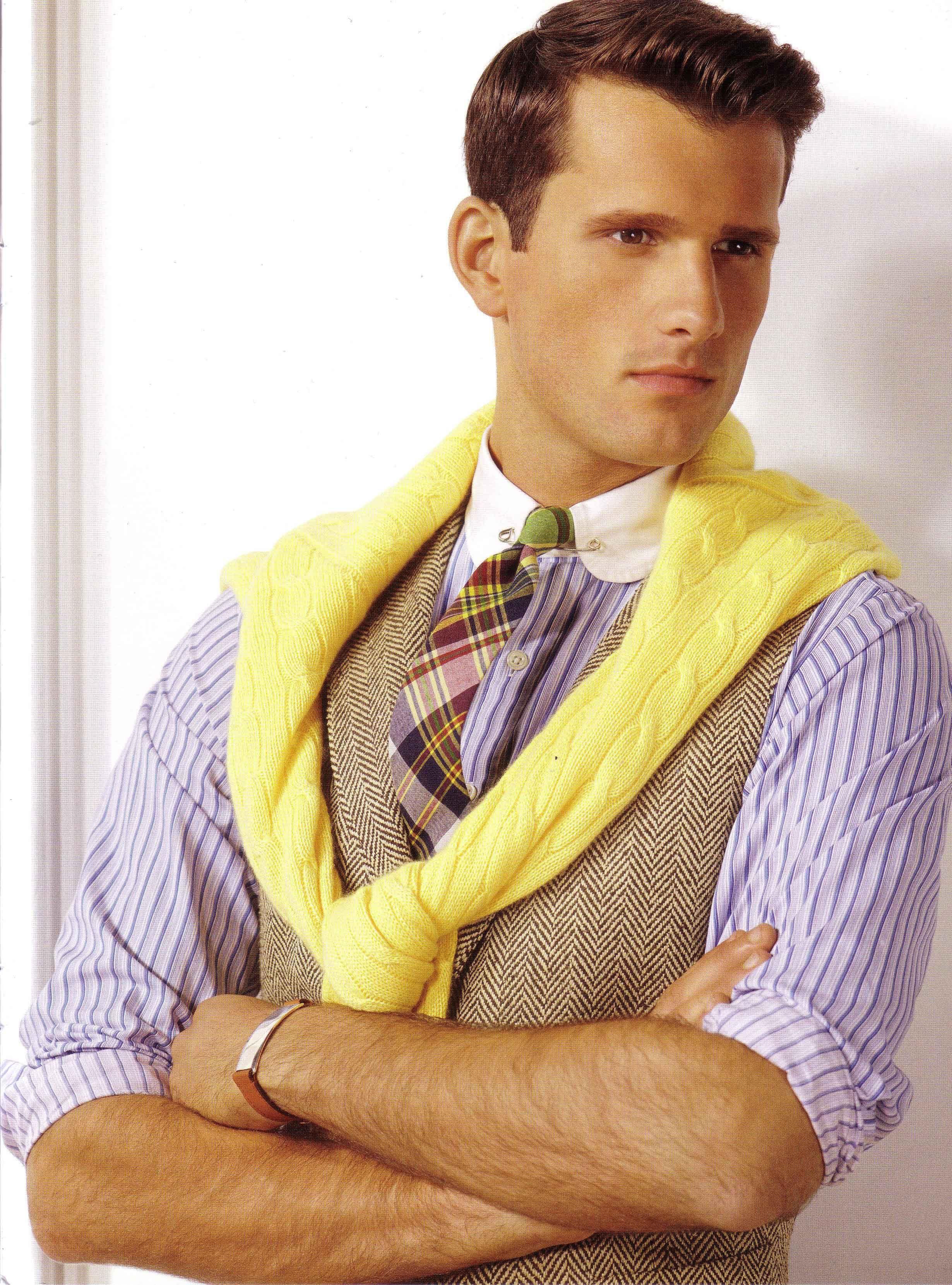 Ralph Lauren Spring Essentials Madras Tie Poplin Cotton Shirt Yellow Cotton Cable Knit Sweater Preppy Mens Fashion Mens Fashion Classic Ivy League Style