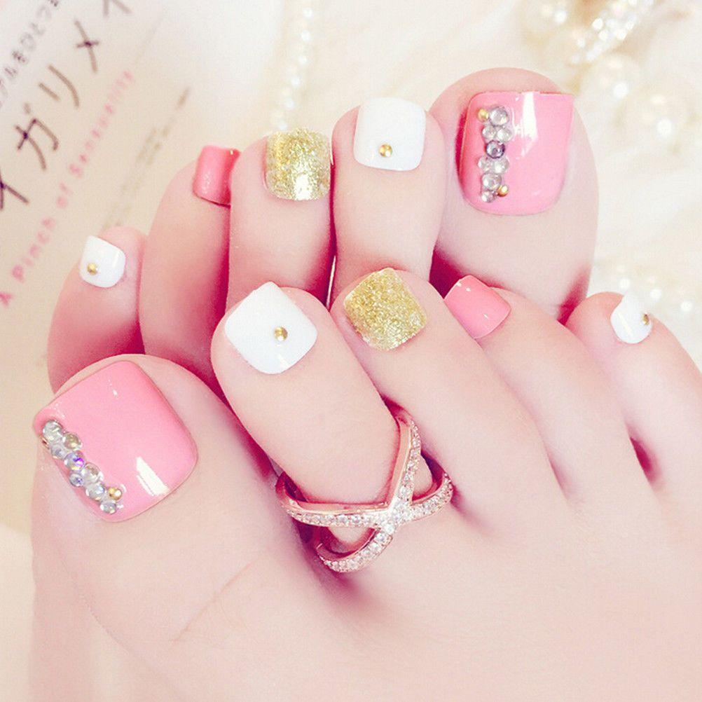 $2.43 - 24Pcs Pink 3D False Toe Nails French Toe Nail Art Tips ...