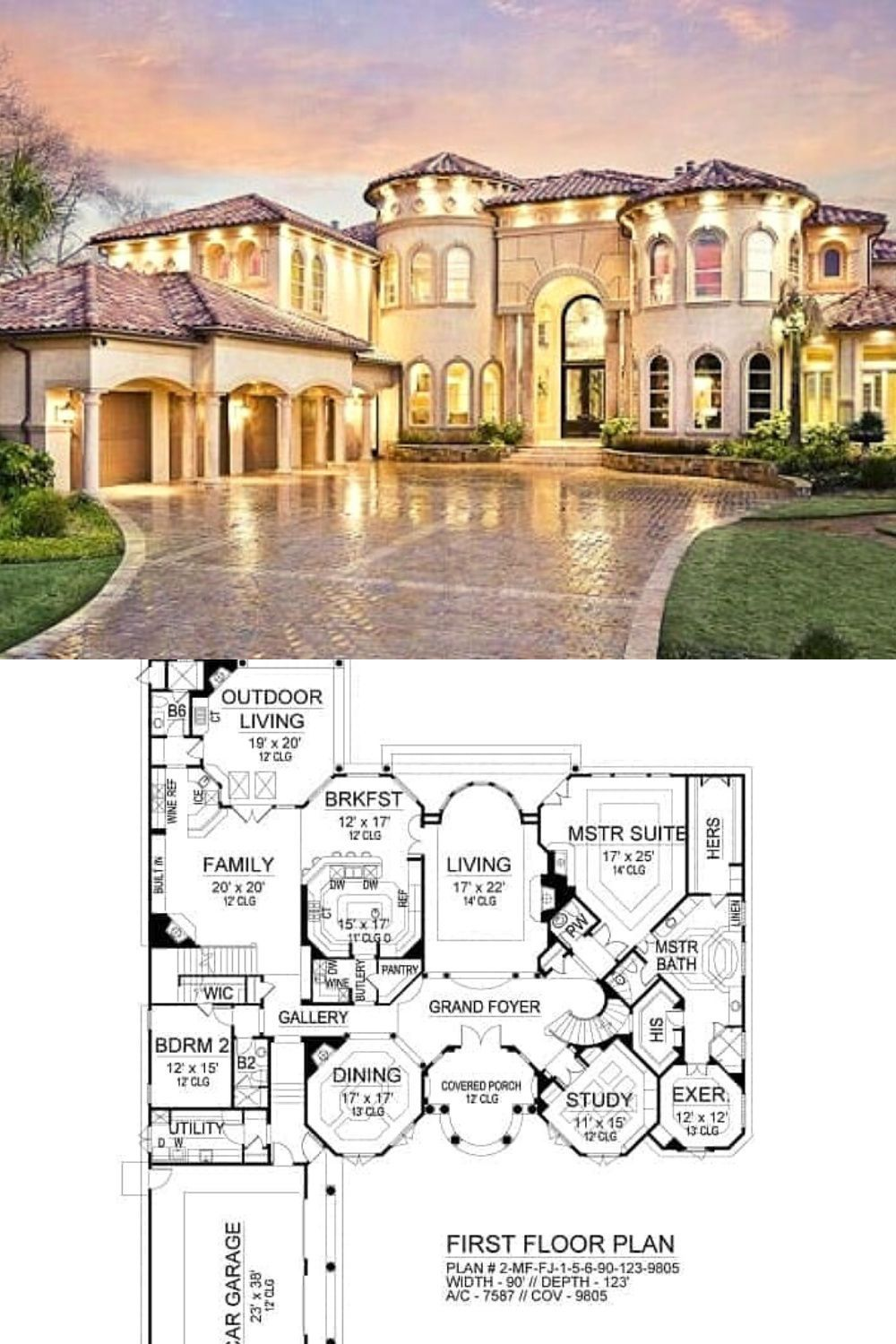 Two Story 5 Bedroom Cordillera Spanish Home Floor Plan Spanish House Mansion Floor Plan Luxury Floor Plans