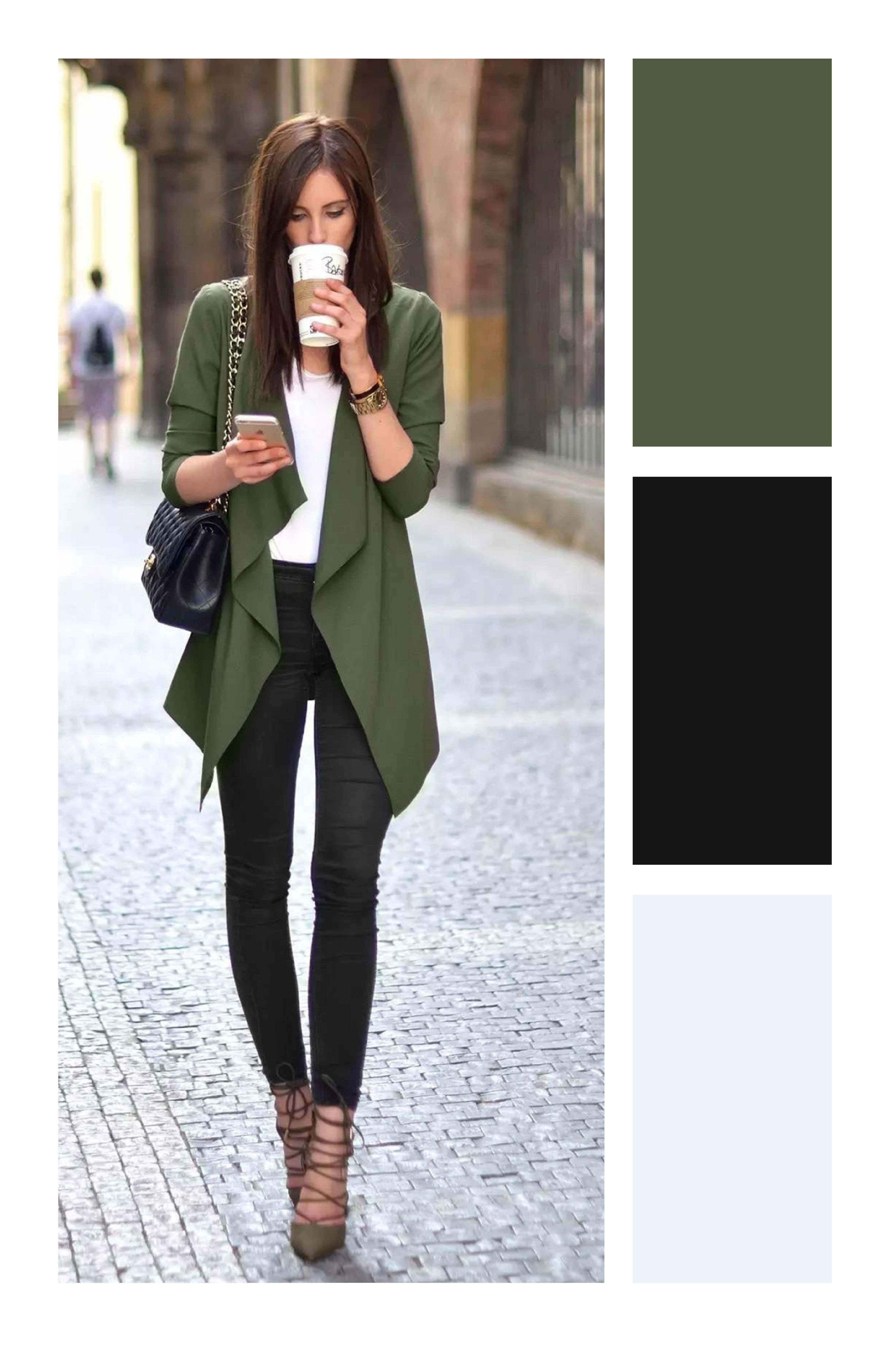 013ca213981 Cómo combinar el color verde militar #TiZKKAmoda #blazer #verde #blusa  #blanco #pantalón #negro #zapatillas #look #primavera #bolsa