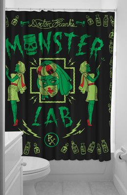 Sourpuss Tattoo Monster Lab Shower Curtain Rockabilly Pinup Punk