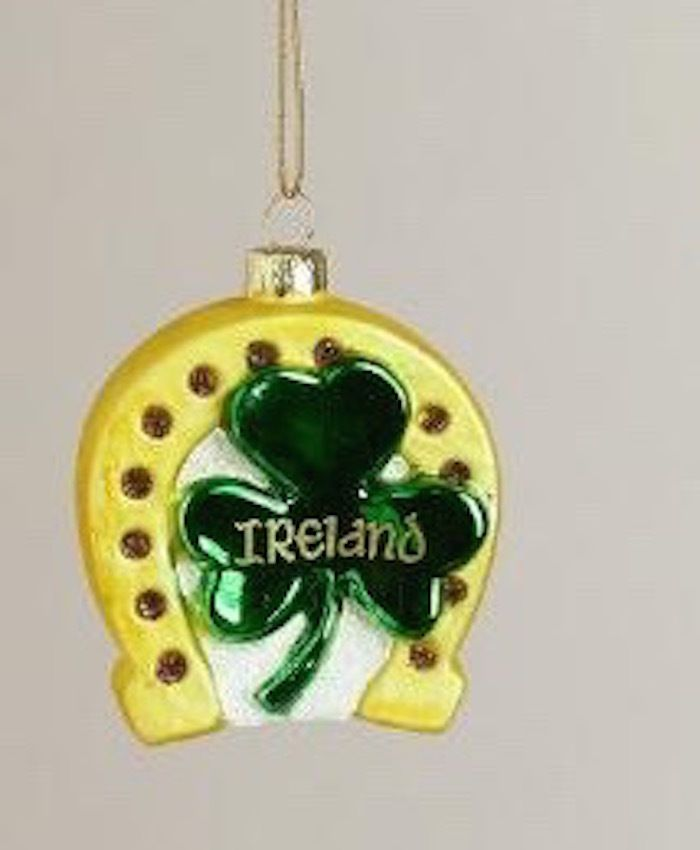 Details about Irish Lucky Horseshoe blown Glass Christmas Ornament ...
