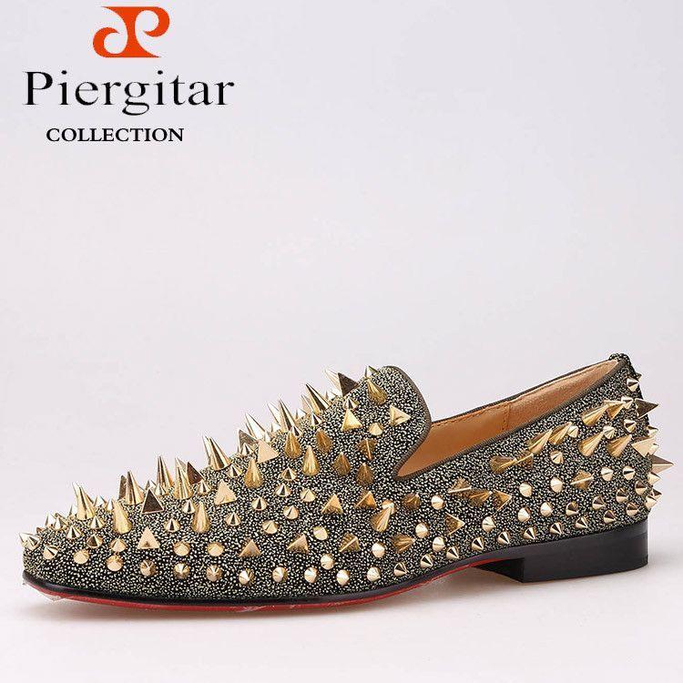 New Handmade Long Gold Rivet Men Red Bottom Loafers Gentleman Luxury  Fashion Stress Shoes r Men fc00ee5c9141