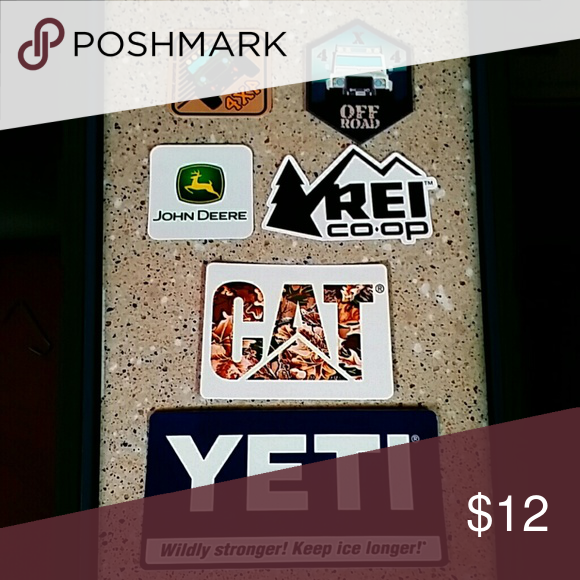 6 X Yeti Sticker Pack 2 X 4x4 1 X John Deer 1 X Rei 1 X Cat 1 X Yeti